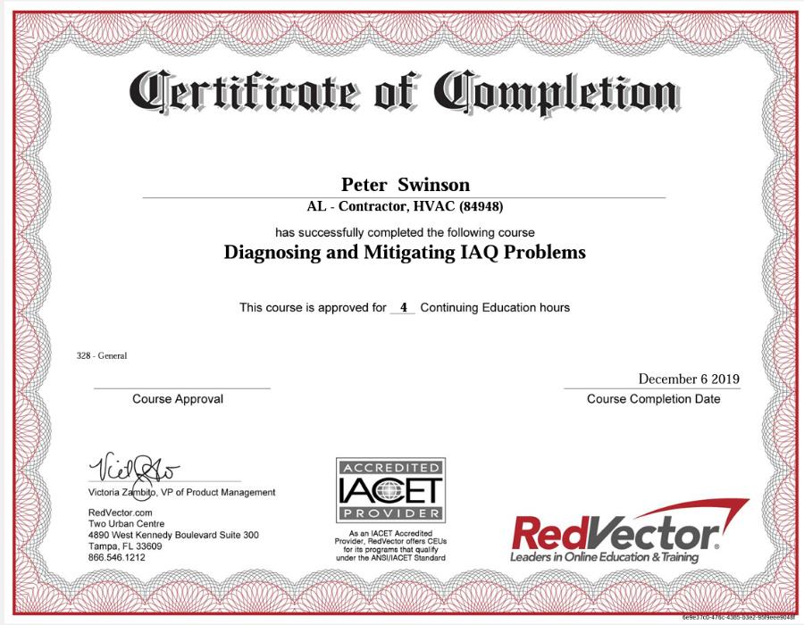 IAQ Certificate