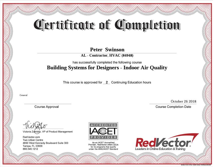 IAQ_1 Certificate